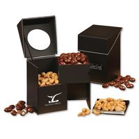 565077578-117 - Faux Leather Desktop Storage Box with Chocolate Covered Almonds and Jumbo Cashews - thumbnail