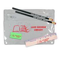 "342135349-819 - Premium Translucent Pouch School Kit w/ 2 Pencils, 6"" Ruler & Eraser - thumbnail"