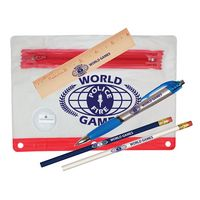 "731071228-819 - Clear Translucent Pouch School Kit w/ 2 Pencils, 6"" Ruler, Pen & Sharpener (Spot Color) - thumbnail"