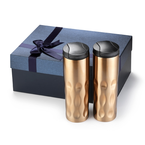 174939735-202 - Two Set 16 Oz. Double Stainless Steel Tumbler Groovy Gift Set in Gift Box - thumbnail