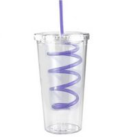 745377407-202 - 20 Oz Slurpy Double Wall Clear Tumbler with Crazy Straw - thumbnail