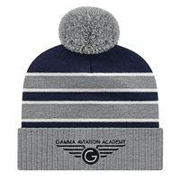906048541-812 - Double Stripe Knit Cap w/Ribbed Cuff - thumbnail