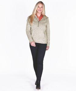 166360017-141 - Women's Heathered Fleece Quarter Zip Hoodie - thumbnail