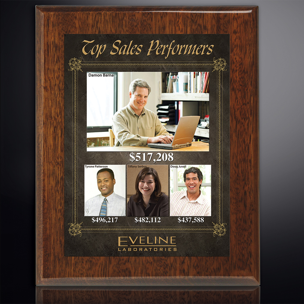 "314009300-133 - Aberdeen Walnut Plaque 10-1/2"" x 13"" with Sublimated Plate - thumbnail"