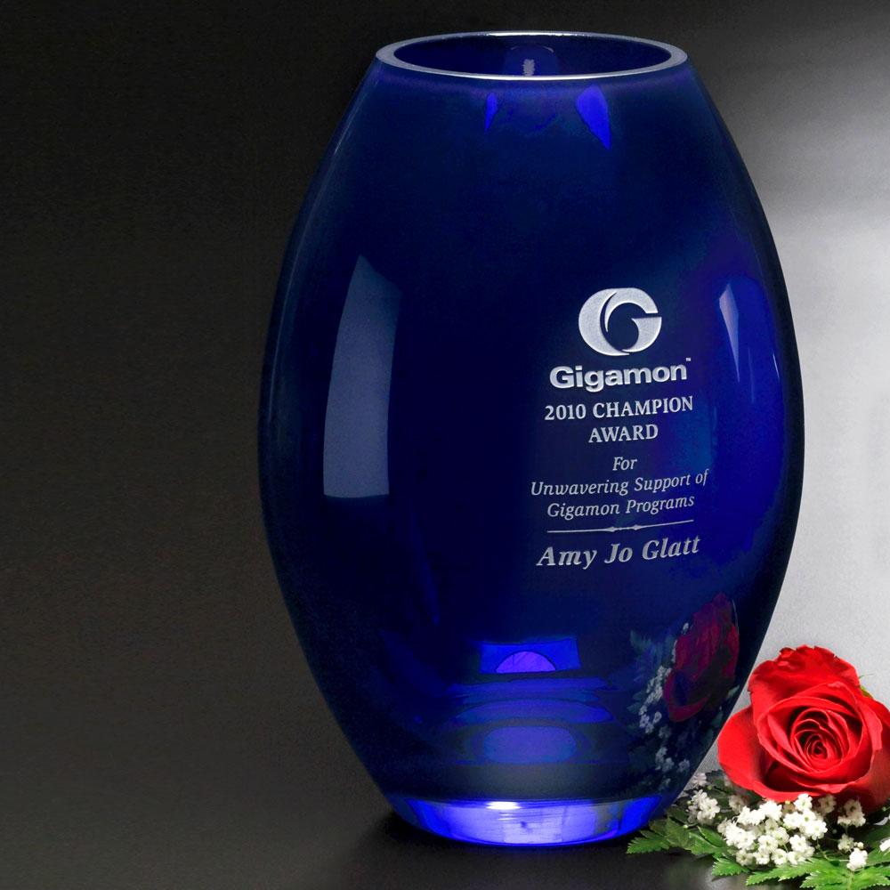 """333388625-133 - Cobalt Barrel Vase 8-1/2"""" - thumbnail"""