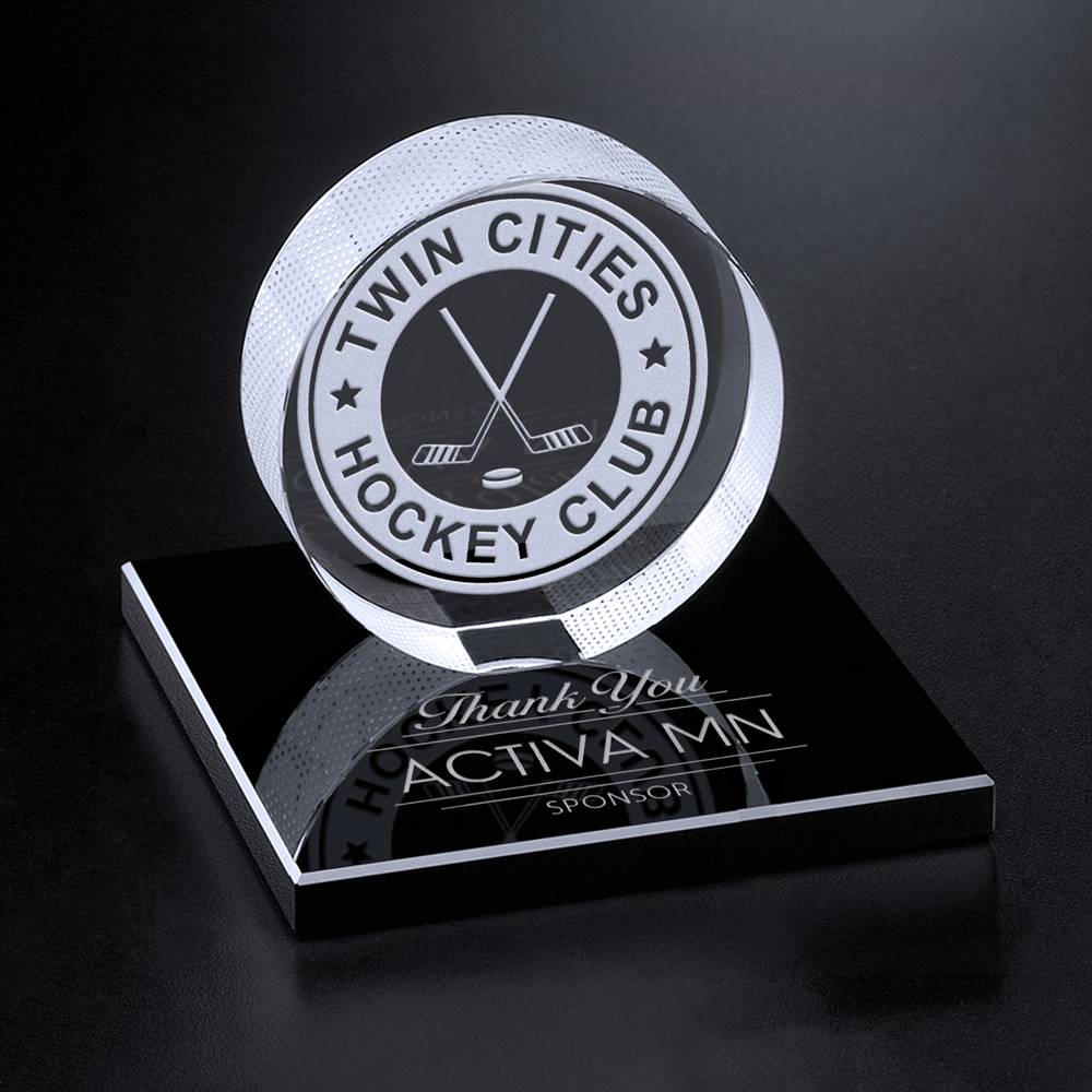 "391124004-133 - Hockey Puck on Black Glass Base 3-3/8"" - thumbnail"