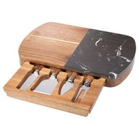 516068919-115 - Black Marble Cheese Board Set with Knives - thumbnail