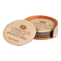 965196572-116 - 6 Piece Round Leatherette Coaster Set - thumbnail
