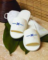 932601267-173 - Cobblestone Mills Open Toe Waffle Weave Slippers w/Travel Bag - thumbnail