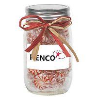 105182497-153 - 16 Oz. Glass Mason Jar w/ Raffia Bow (Starlight Mints) - thumbnail