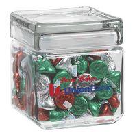 905182895-153 - Square Glass Jar - Hershey's Holiday Kisses (32 Oz.) - thumbnail