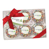 985048309-153 - Elegant Chocolate Covered Printed Oreos® Gift Box - Rainbow Nonpareil Sprinkles (6 pack) - thumbnail