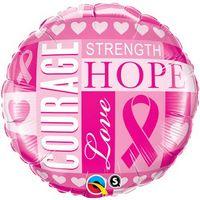 "345909329-157 - 18"" Round Stock Microfoil Balloon- BREAST CANCER AWARENESS - thumbnail"