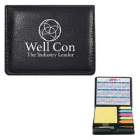 112567076-816 - Square Leather Look Case Of Sticky Notes With Calendar & Pen - thumbnail