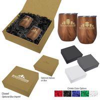 376064273-816 - 12 Oz. Woodgrain Alexander Stemless Wine Cup Gift Set - thumbnail