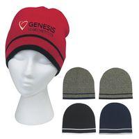382815450-816 - Knit Beanie With Double Stripe - thumbnail