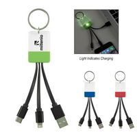 385811393-816 - 3-In-1 Clear View Light Up Cable Key Ring - thumbnail