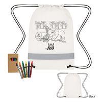 535782245-816 - Lil' Bit Reflective Non-Woven Coloring Drawstring Bag With Crayons - thumbnail