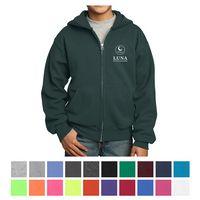775355033-816 - Port & Company® Youth Core Fleece Full-Zip Hooded Sweatshirt - thumbnail