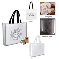 775537397-816 - Reflective Non-Woven Coloring Tote Bag With Crayons - thumbnail