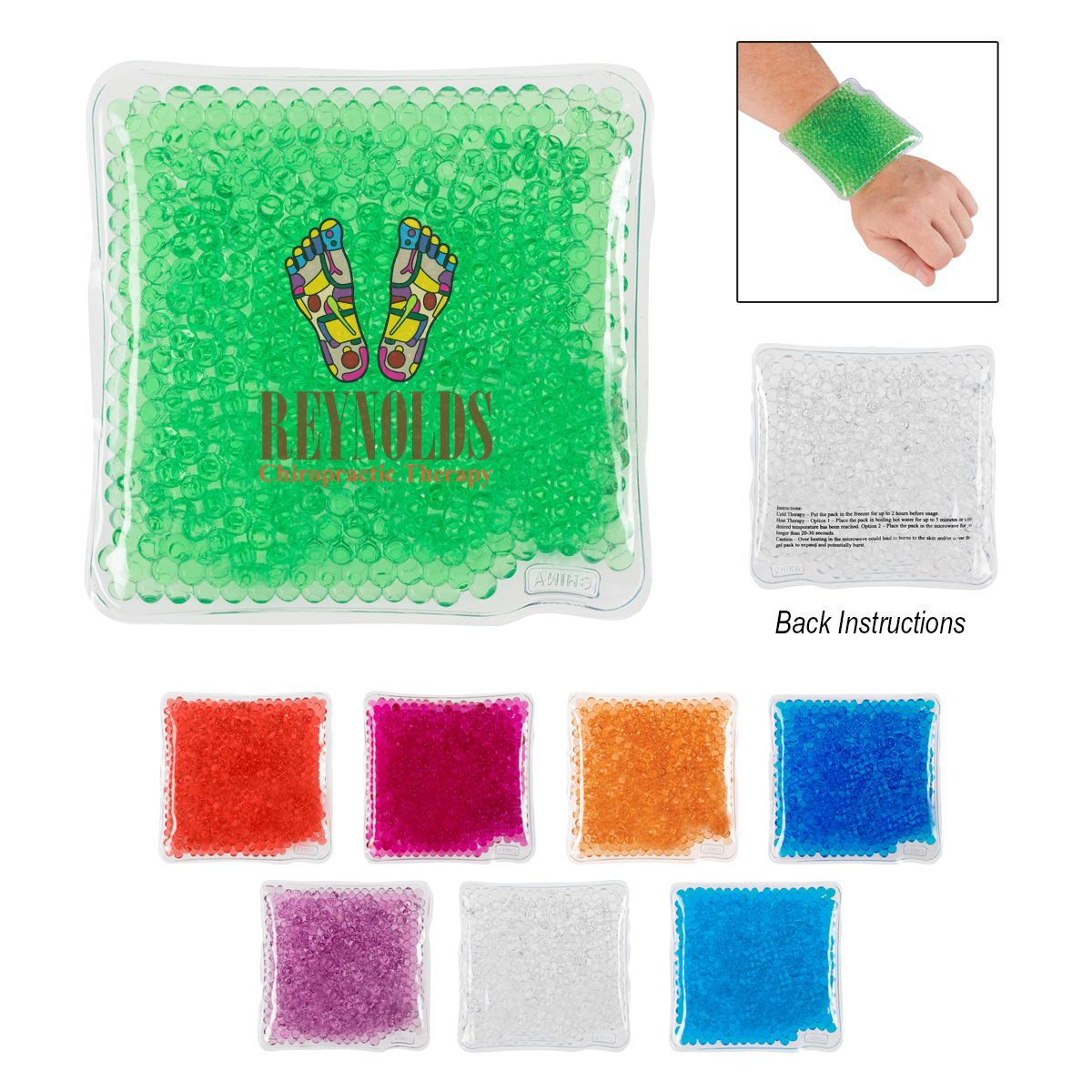 904474144-816 - Square Gel Beads Hot/Cold Pack - thumbnail