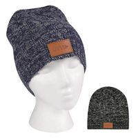 915545790-816 - Knit Beanie With Leatherette Patch - thumbnail
