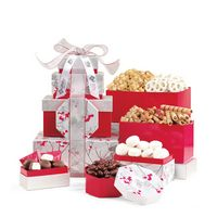 386283033-112 - Celebrate the Season Gourmet Sweets & Treats Tower - Red-Silver - thumbnail