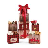 995774544-112 - Plaid Tidings Holiday Sweets & Treats Gourmet Tower Red - thumbnail