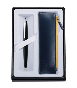 545514410-126 - ATX Basalt Black Ballpoint Pen w/ Midnight Blue ZIP Pouch - thumbnail