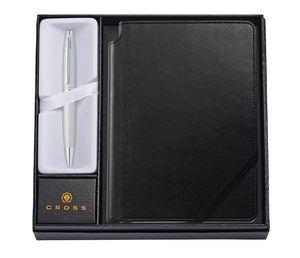 585514391-126 - Calais Satin Chrome Ballpoint Pen w/ Medium Classic Black Journal - thumbnail