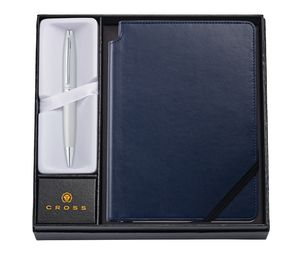985514392-126 - Calais™ Satin Chrome Ballpoint Pen w/Medium Midnight Blue Journal - thumbnail