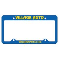 165932437-183 - Blue Auto License Frame w/ 4 Holes & Large Top Straight Panel - thumbnail