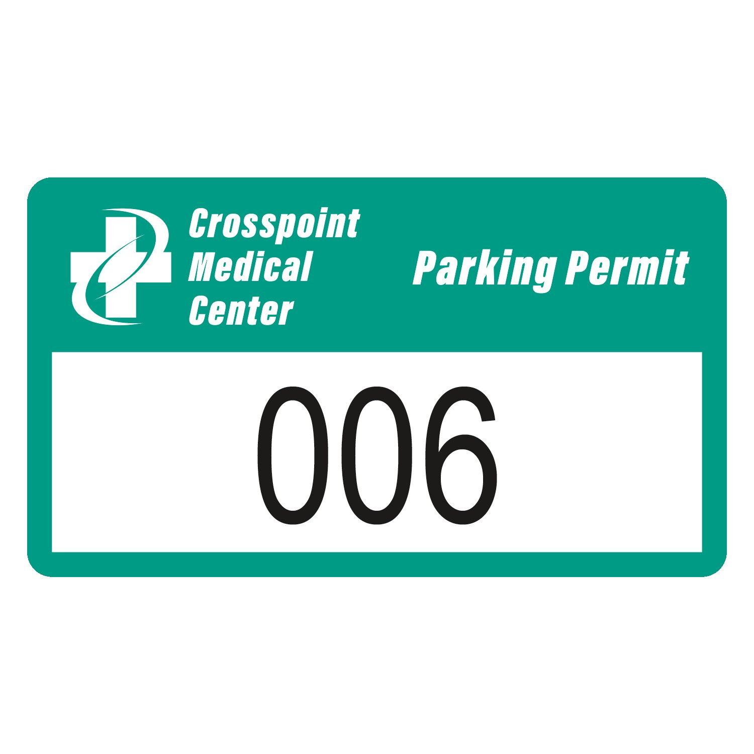 "185932477-183 - Rectangle White Reflective Numbered Outside Parking Permit Decal (2""x3 1/2"") - thumbnail"