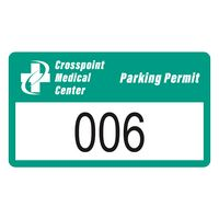 """185932477-183 - Rectangle White Reflective Numbered Outside Parking Permit Decal (2""""x3 1/2"""") - thumbnail"""