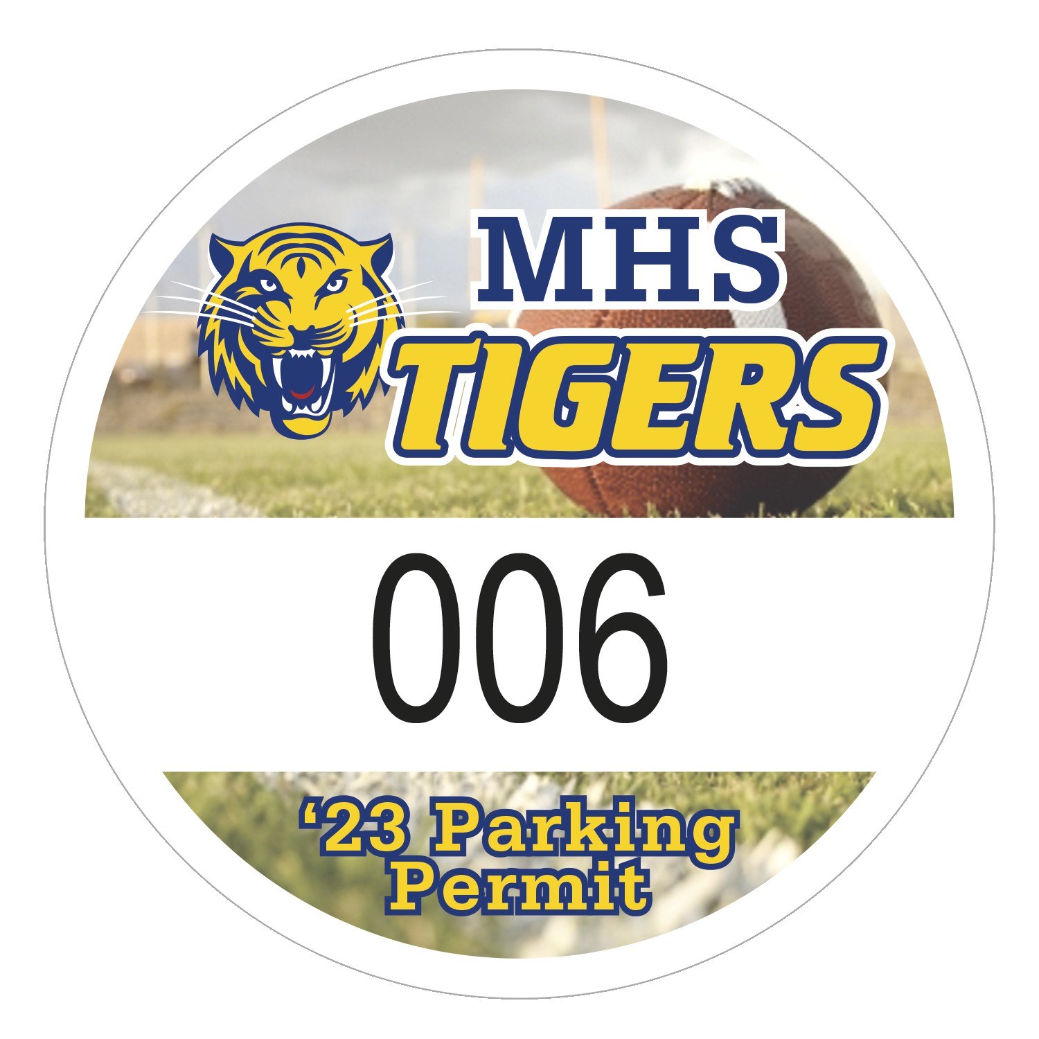 "345932495-183 - Round White Vinyl Full Color Numbered Outside Parking Permit Decal (2 1/2"" Diameter) - thumbnail"