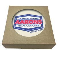 355048390-183 - Set of 4 Round Absorbent Stone Coasters w/ Natural Kraft Box - thumbnail