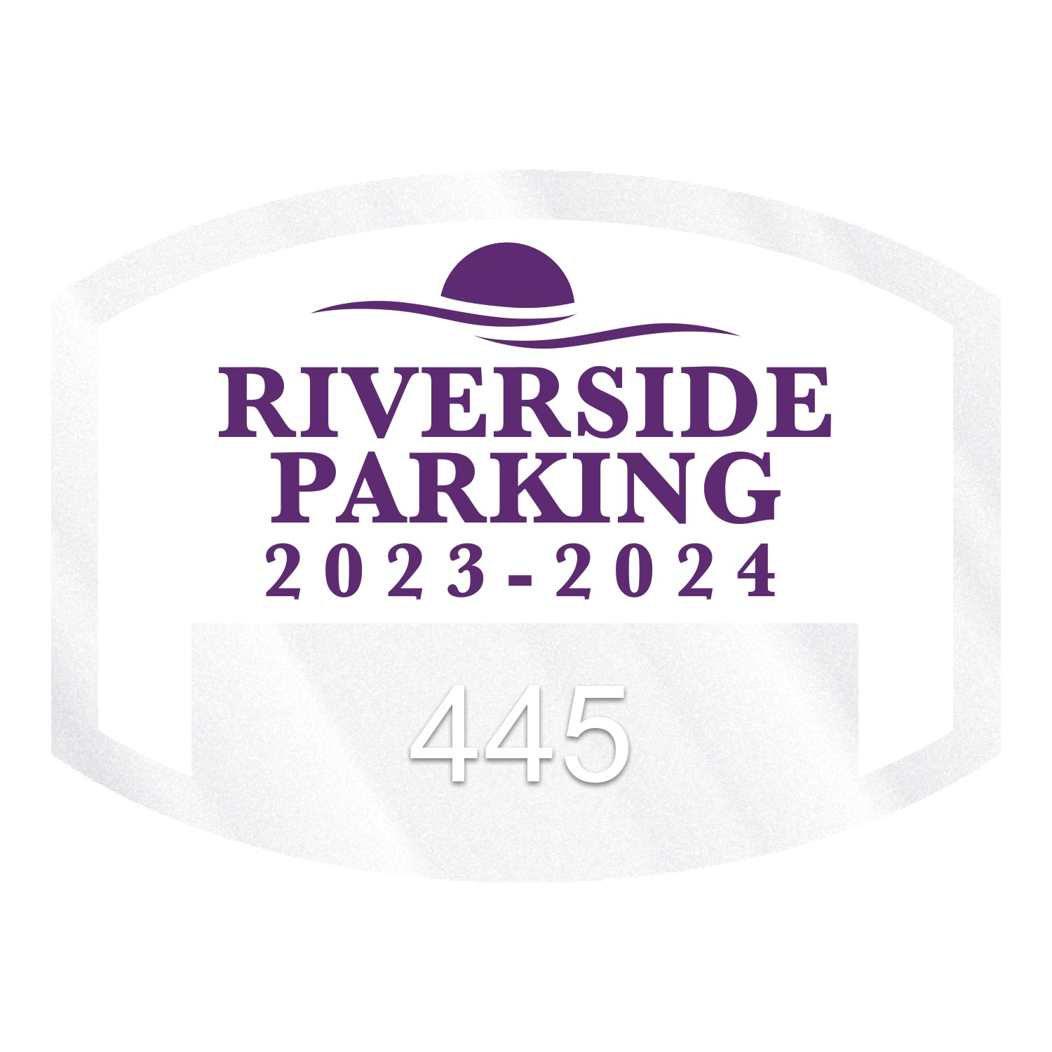 "385932470-183 - Curved Rectangle Clear Polyester Numbered Inside Parking Permit Decal (1 1/2""x2"") - thumbnail"