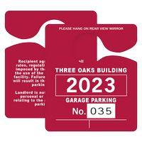 """595932443-183 - Plastic 35 pt. Numbered Hanging Parking Permit (3""""x3 1/2"""") - thumbnail"""