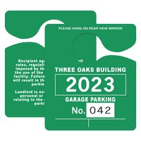 "725932451-183 - Plastic 10 pt. Numbered Hanging Parking Permit (3""x3 1/2"") - thumbnail"