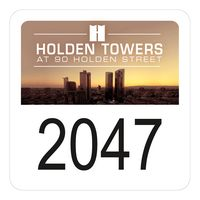 """945932499-183 - Square White Vinyl Full Color Numbered Outside Parking Permit Decal (1 3/4""""x1 3/4"""") - thumbnail"""