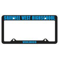 965880766-183 - Black Auto License Frame w/ 4 Holes & Large Top Straight Panel - thumbnail