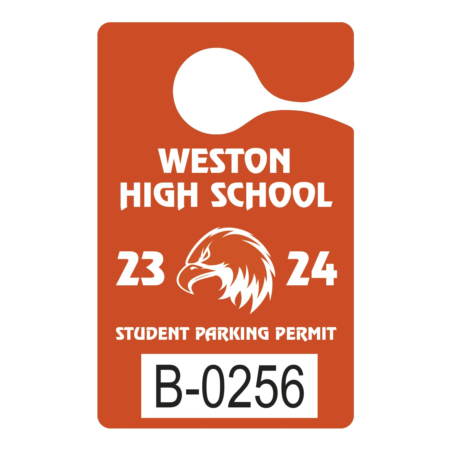 "995932444-183 - Plastic 35 pt. Numbered Hanging Parking Permit (3""x4 3/4"") - thumbnail"