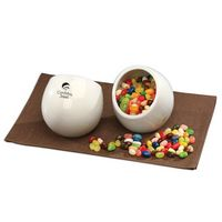 125761583-117 - Modern White Candy Dish with Jelly Belly® Jelly Beans - thumbnail