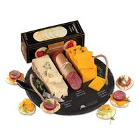 385697954-117 - Round Slate Serving Plate with Wisconsin Cheese & Sausage - thumbnail
