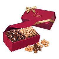 546140095-117 - Chocolate Almonds & Cashews in Scarlet Magnetic Closure Box - thumbnail