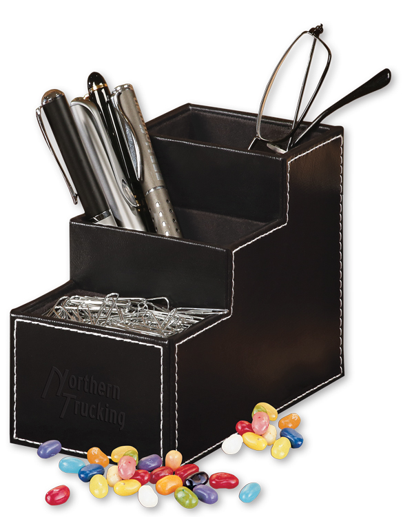 554828118-117 - Faux Leather Desk Organizer with Jelly Belly Jelly Beans - thumbnail
