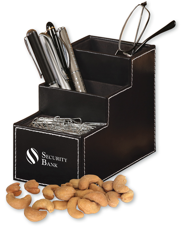 594828094-117 - Faux Leather Desk Organizer with Extra Fancy Jumbo Cashews - thumbnail