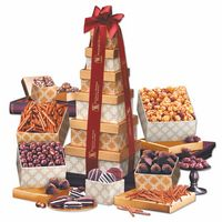 705702934-117 - Golden Delights Tower with Burgundy Ribbon - thumbnail