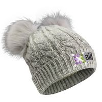 106089733-814 - Cable Knit Beanie With Fur Pom Ears - thumbnail