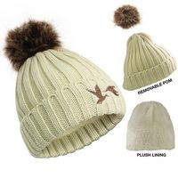 576089724-814 - Cable Knit Beanie W/Removable Pom - thumbnail